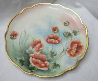 Antique Large Hand Painted Plate Red Poppies Thick Gold scallop rim Signed
