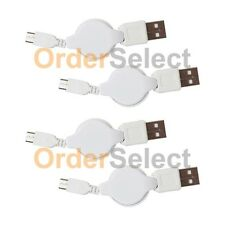 4 USB White Retract Micro Charger Cable for Samsung Galaxy S6/S6 Edge/Core Prime