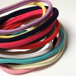 Pack of 5 Nylon Skinny Elastic Headbands - bow making - 24 colours available