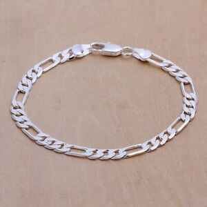 Men's Chain 6 mm Stainless Steel Bracelet Silver Curb Cuban Link Jewelry fashion