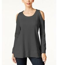 Cold Shoulder Thermal Tunic Top In Gray Size Large BNWT Macy's Style & Co
