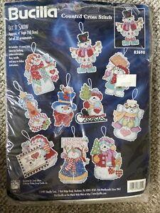1997 BUCILLA Vtg Counted Cross Stitch Let it Snow 10 Ornaments Winter #83690 NEW