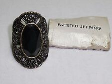 Ladies Avon Brand Faceted Jet Fashion Ring Size 6.5 - 8 Adjustable New