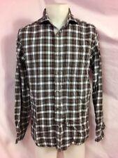 BLUE Saks Fifth Avenue Plaid Long-Sleeve Button-Down Shirt, Men's Size M