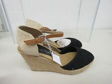 American Eagle Womens Wedge Heels Strap ankle strap sz 8 Black new A289