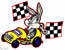 """New listing 5.5""""Baby looney tunes babies bugs bunny race car fabric applique iron on"""