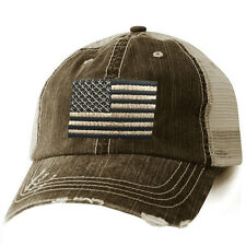American Flag patriotic Ball Cap - Distressed Trucker Style Mesh Backing