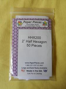 """Half Hexagon Paper Pieces - 2"""" - 50 pieces"""