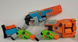 Lot of 4 Zombie Strike Nerf Guns Sledgefire (3 shells) FlipFury & Doublestrikes