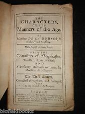 The Characters of the Manners of the Age by Monsieur De La Bruyere - 1702, RARE