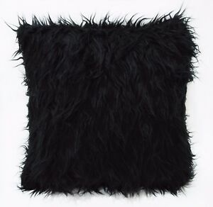 Fm722a Black Shiny Faux Cow Long Fur Cushion Cover/Pillow Case*Custom Size*