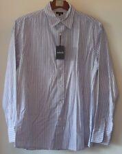 Jaeger Striped Long Sleeve Shirt White/Blue Stripe Medium Pure Cotton BNWT