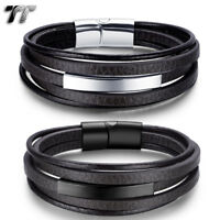 TT Genuine Deep Brown Leather 316L Stainless Steel ID Clip Bracelet (BR272) NEW