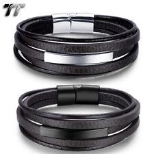 TT Genuine Deep Brown Leather 316L Stainless Steel ID Clip Bracelet (BR272) NEW