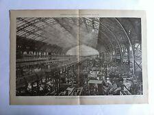 LA GALERIE DES MACHINES Gravure exposition universelle PARIS 1889