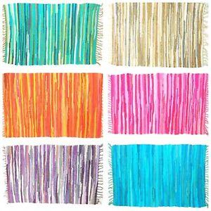 Indian Chic Rag Rug Coloured  Fringe Recycled Chindi Flat Weave Mat 60x90 cms UK