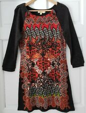 Aryeh Anthropologie Knit Boho Print Gray Red Paisley Sweater Dress Tunic Medium