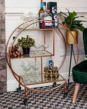 Rose Gold Large Round 3 Tier Drinks Trolley 1930's Art Deco Home Hostess