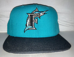 Vtg Florida Marlins NEW ERA fitted hat cap size 7 3/8 90s Gray Brim Usa Rare