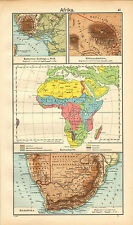 1908 MAP ~ AFRICA CULTURE SAHARA SUDAN ~ SOUTH AFRICA CAPE COLONY TRANSVAAL