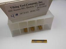 """VIKING Carbide Grooving Inserts .187"""" x 0.31"""" HU6C TiN Qty 4 -8407E1490A"""