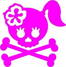 SMALL PINK Vinyl Decal Girl skull crossbones bow biker flower truck fun sticker