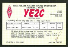 Central Java QSL card YE2C Indonesia 1989