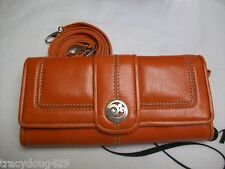 "NWT BRIGHTON CONTEMPO WALLET WITH SHOULDER STRAP LEATHER  ""ORANGE"""