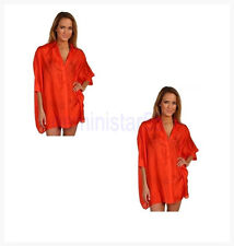 NWT MICHAEL Michael Kors* South Hampton Solids Coverup 100% Silk Papaya Sz S