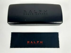 Ralph Lauren Leather Hard Clamshell Glasses Case w/ Matching Cleaning Cloth EUC