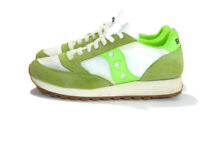Saucony Sneakers Green White Beige Tan Nylon Suede Jazz Originals Womens Size 8