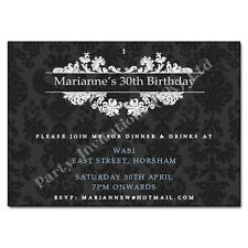 Beautiful Classy Damask Style Personalised Birthday Party Invitations / Invites