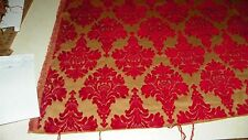 Red Gold Victorian Print Cut Velvet Upholstery Fabric 1 Yard  (R393)