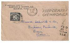 T133 1946 GB Yorkshire Bury Lancashire Postage Dues Slogans Cover PTS