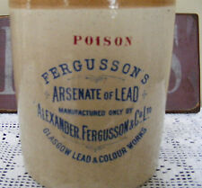 VERY RARE! LARGE ANTIQUE POISON CROCK FROM GLASGOW LEAD & COLOUR WORKS.