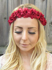 Red Rose Flower Garland Headband Hair Crown Festival Boho Floral Bridesmaid 1856