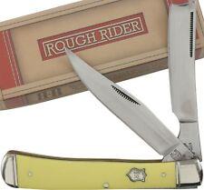 Rough Rider Smooth Yellow Razor Trapper Pocket Knife RR892 2 Folding Blades