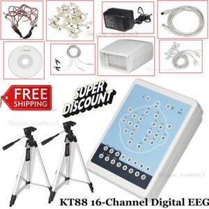 16 Channel EEG machine Digital Brain Electric System  PC Software 2 tripods KT88