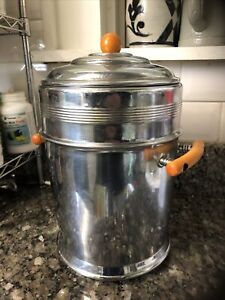 1930's  Vintage Art Deco Ice Bucket butterscotch Bakelite Handles Chrome lined