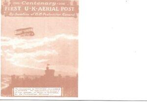 GB 1911 1st UK Aerial Post Centenary Flight Card in Red-Brown - Unused