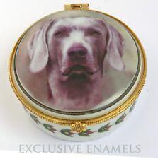 More details for alastor enamels weimarana dog round hinged china trinket box