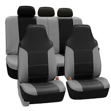 Gray & Black PU Leather Car Seat Covers Full Set Airbag compatible 2 Row Set