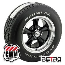 "15x7""/15x8"" Retro Wheels Black Rims BFG Tires 235/60R15 255/60R15 Chevelle 66-72"