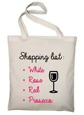 Wine Shopping Bag - Reusable Long Handled Tote Bag Natural Shopper Funny Novelty