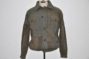 Polo Ralph Lauren Tweed Wool Patchwork Cardigan Sweater L