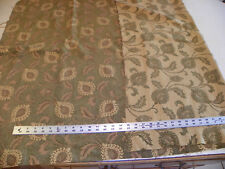 Green Beige Brown Paisley Chenille Print Fabric /Upholstery Fabric Remnant F771