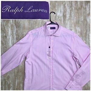 NWOT Ralph Lauren Purple Label Pink White Cotton Striped Spread Dress Shirt 16.5