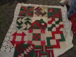 Quilt Blocks SET OF Eleven Pieced Christmas Print Quilt Blocks Homemade