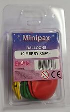 10 MERRY XMAS Party BALLOONS - Happy Christmas Decorations - Airfill Minipax