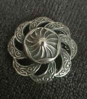 Vintage Antiqued Silvertone domed Brooch pin swirl flower